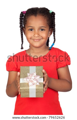 African little girl with a golden gift isolated on a over white - stock photo