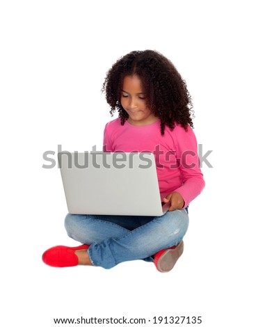 African little girl with a laptop isolated on a white background - stock photo