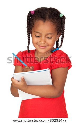 African little girl with a notebook isolated on a over white - stock photo