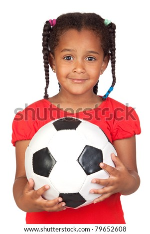 African little girl with a soccer ball isolated on a over white - stock photo