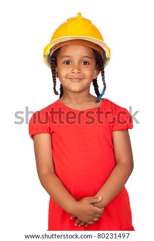 African little girl with a yellow helmet isolated on a over white - stock photo