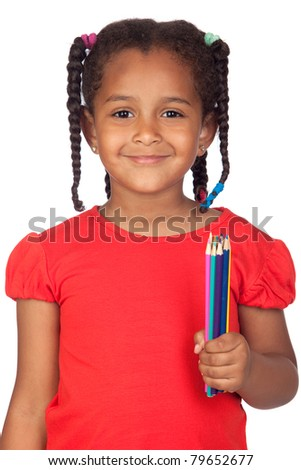 African little girl with crayons isolated on a over white - stock photo
