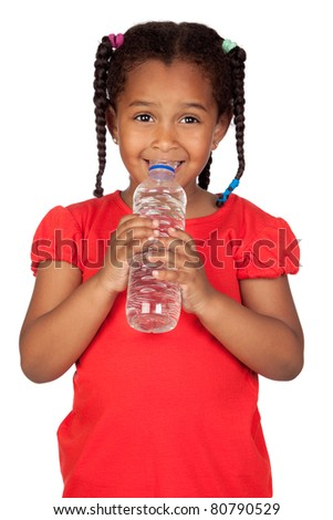 African little girl with water bottle isolated on a over white
