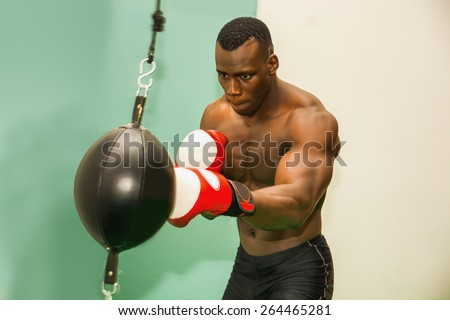 African male boxer punching ball wearing boxing gloves, back profile view - stock photo