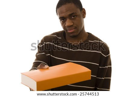 African man giving you a book isolated on white