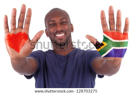 African man hands with a painted heart and south african flag, i love south africa concept, isolated on white background - stock photo