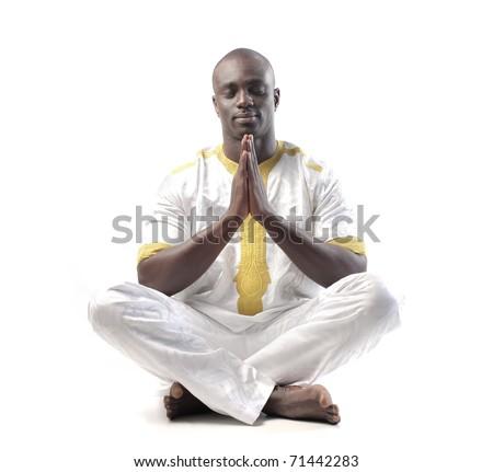 African man praying - stock photo