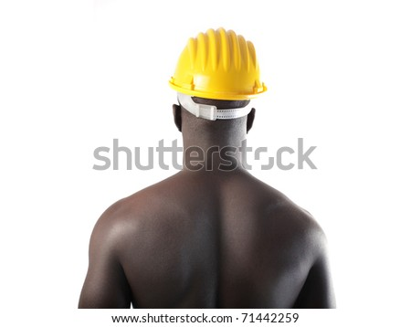 African man wearing a safety cap - stock photo