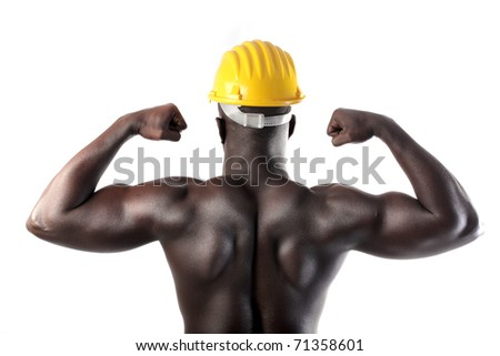 African man with security cap showing his muscles - stock photo