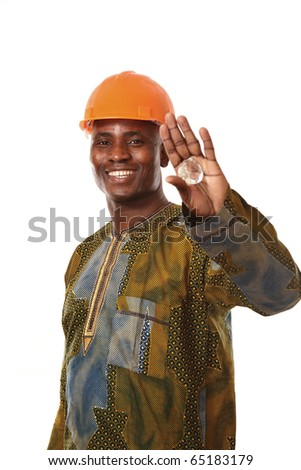 African man working in lab - stock photo