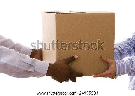 african men delivering a package to a caucasian men (isolated on white) - stock photo