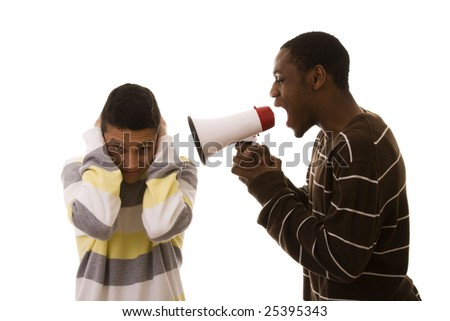 african men shouting to the caucasian men (isolated on white)