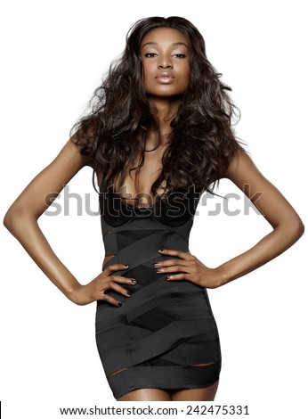 African model on peachy background. - stock photo