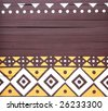 african motif painted wall - stock photo