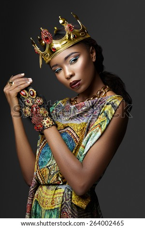 African Queen on a gray background - stock photo
