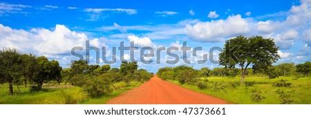 African road in Burkina Faso - stock photo