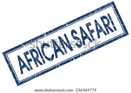 african safari blue square stamp isolated on white background - stock photo