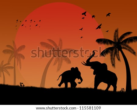 African safari theme with elephants and palms on beautiful place - stock photo