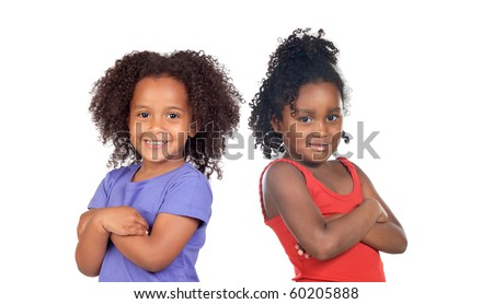 African sisters children isolated on a over white background - stock photo