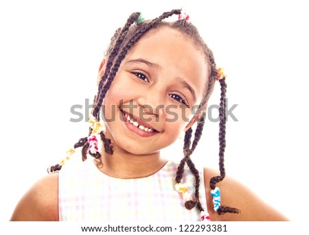 African smile little girl, isolated on white - stock photo
