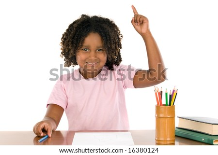 african student girl with his hand raised up