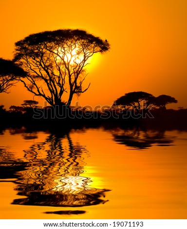 african sunset with reflection, kenya - stock photo