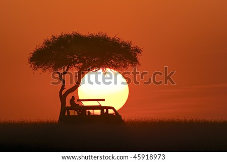 African sunset with safari car and desert date tree - stock photo