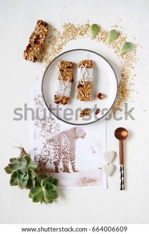 African Theme Flat lay with Healthy Nutritional Granola  Bars