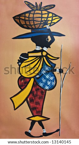 African traditional painting representing a mother with the child tight to her back - stock photo