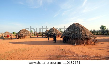 African tribal hut - stock photo