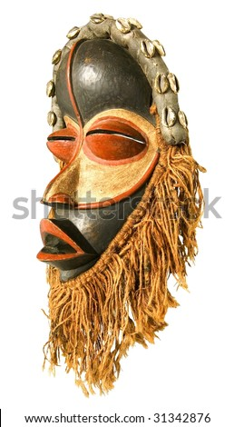 african tribal mask isolated on white - stock photo