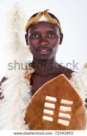 african tribesman closeup portrait - stock photo