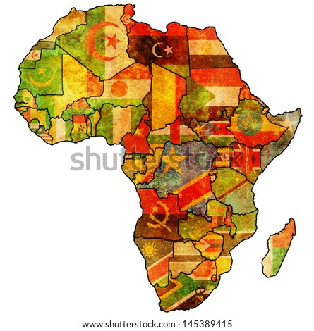 african union on actual vintage political map of africa with flags - stock photo