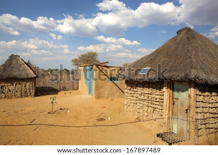 African Village at Caprivi Strip. Namibia - stock photo