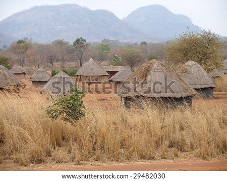 African village in Mozambique - stock photo