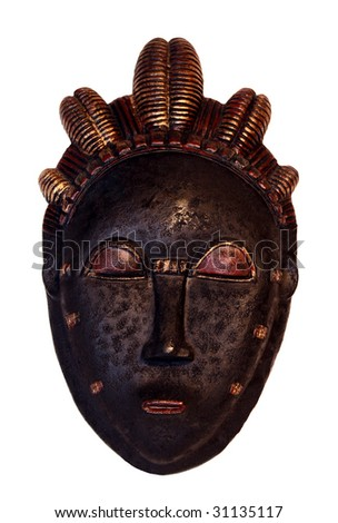 African voodoo mask #1 isolated on white background