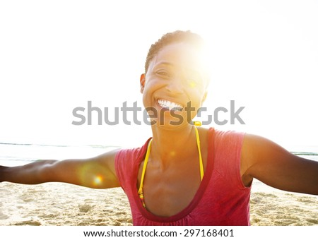 African Woman Beach Happiness Freedom Concept - stock photo