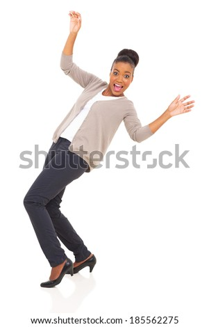 african woman slips on white background - stock photo