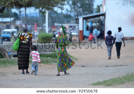 African woman to the market - stock photo