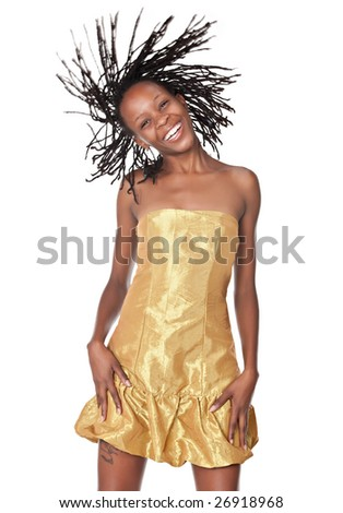 african woman with dreadlocks, isolated on white