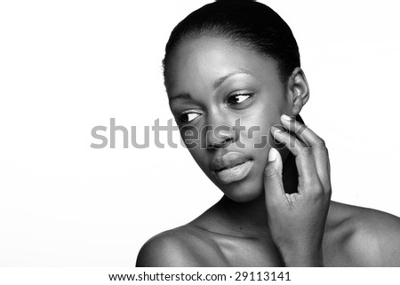 African woman with natural make-up portrait - stock photo