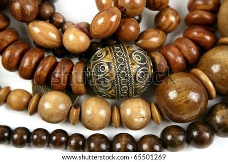 African wooden handcraft jewellery texture necklaces - stock photo