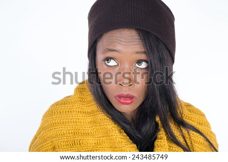 African young girl going cold - stock photo