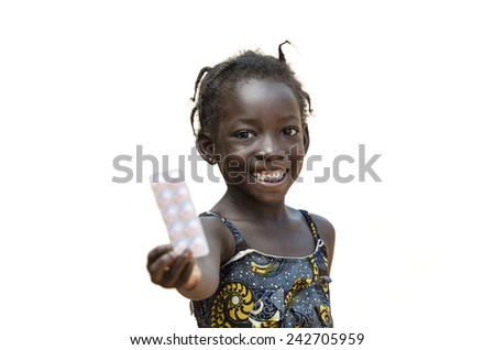 African Young Girl Showing Pills Toothy Smile Isolated On White  - stock photo