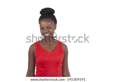 African young girl smilng on white background - stock photo