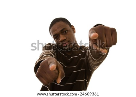 african young man pointing to you (selective focus)