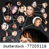 African young woman with her social network friends and business partners in a diagram - stock photo