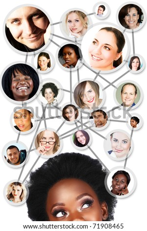African young woman with her social network friends and business partners in a diagram