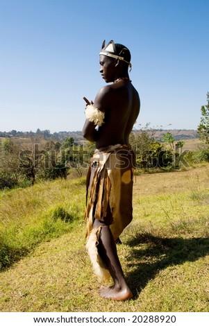 african zulu dancer - stock photo