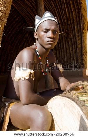 african zulu drum player - stock photo